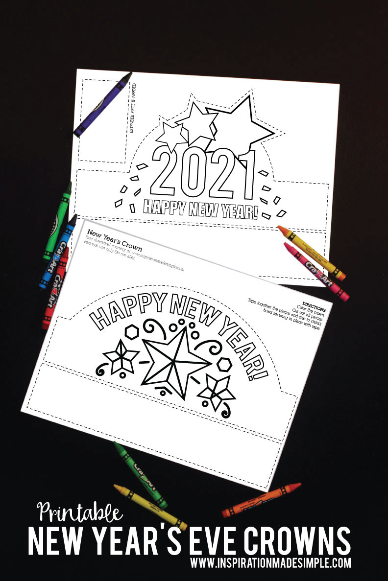 Printable 2021 DIY New Year's Crowns for Kids