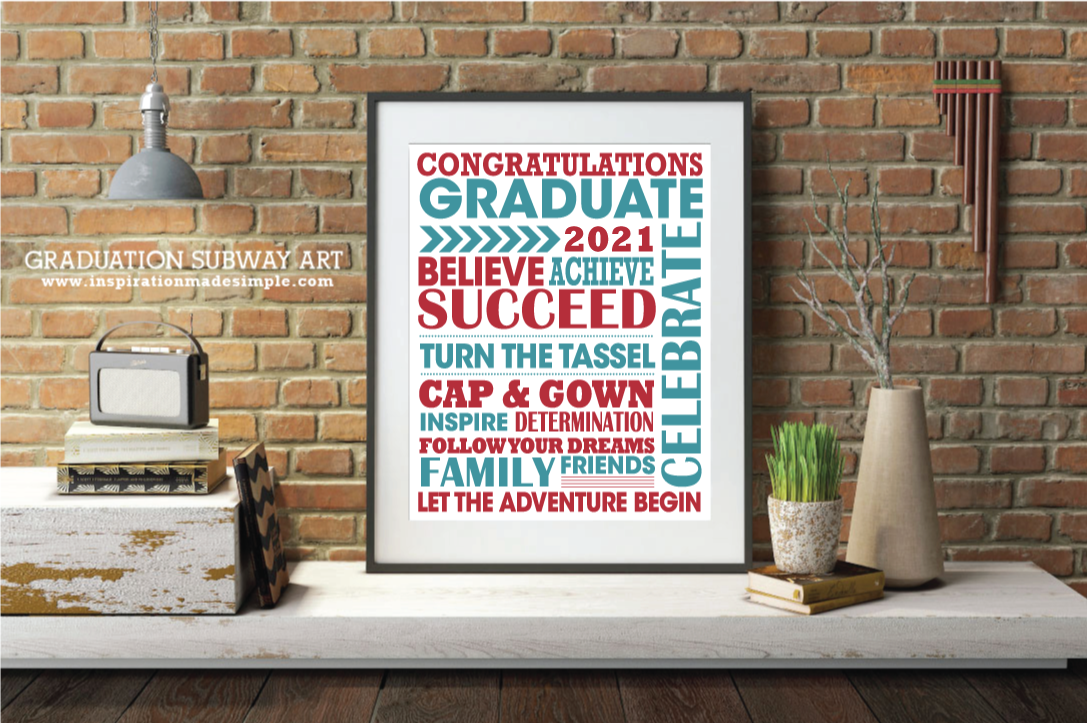 2021 Graduation Subway Art Printable - Add to a frame with a matte for a fun guest book!