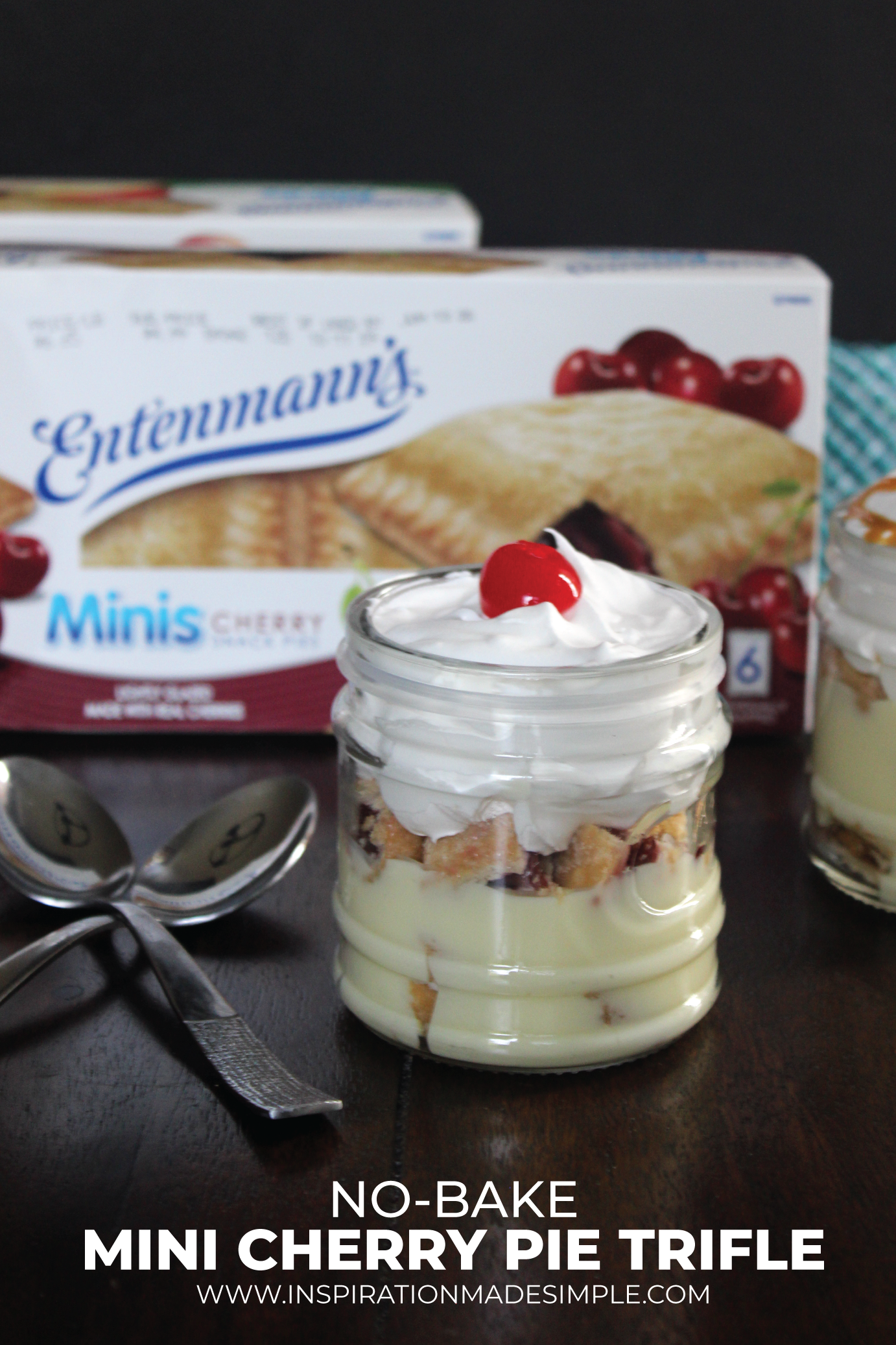 No-Bake Mini Cherry Pie Trifle with Entenmann's® Minis Cherry Snack Pies