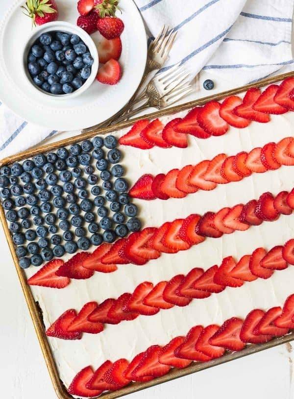 Fruit American Flag Cake