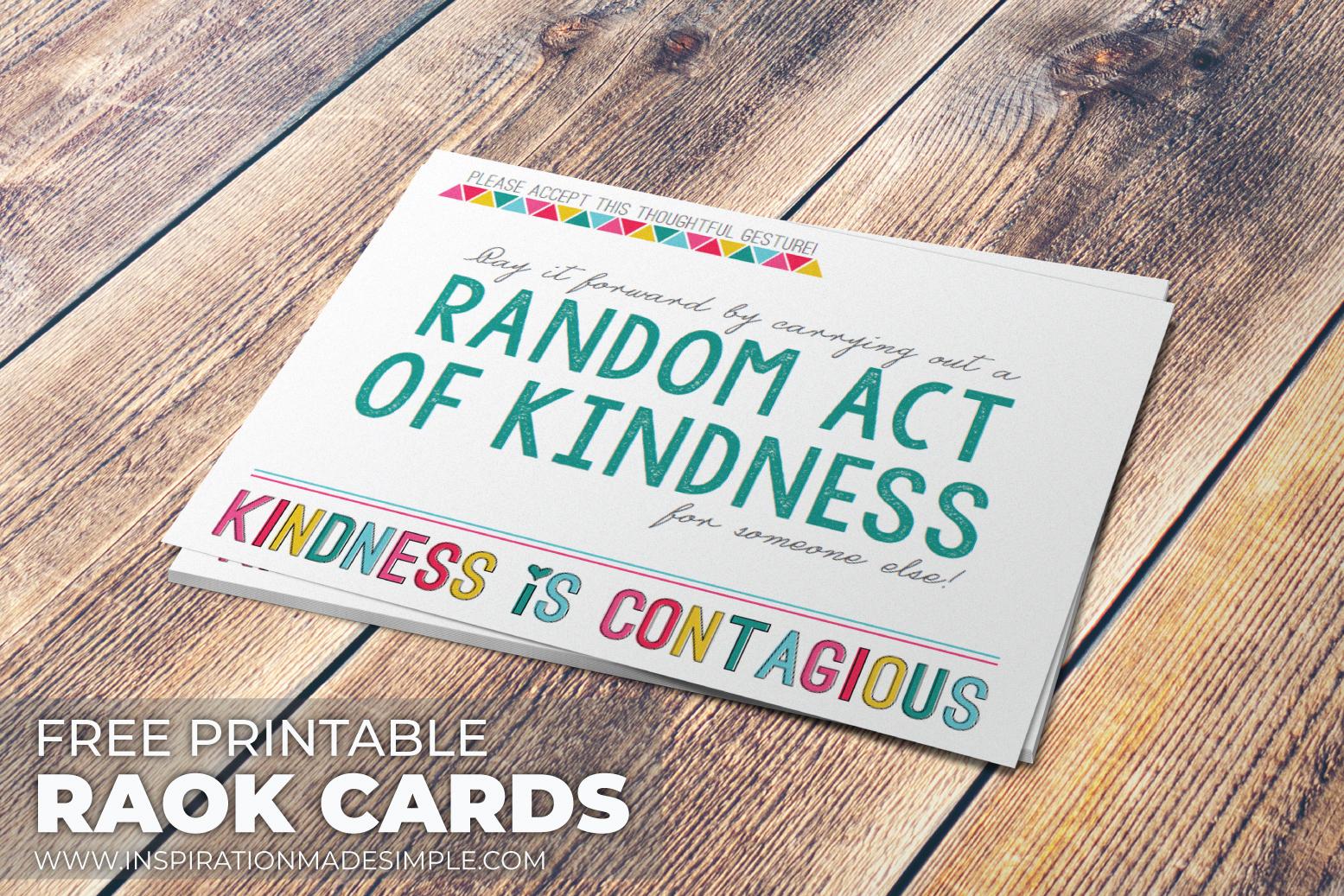 Free Printable Random Acts of Kindness Cardsards