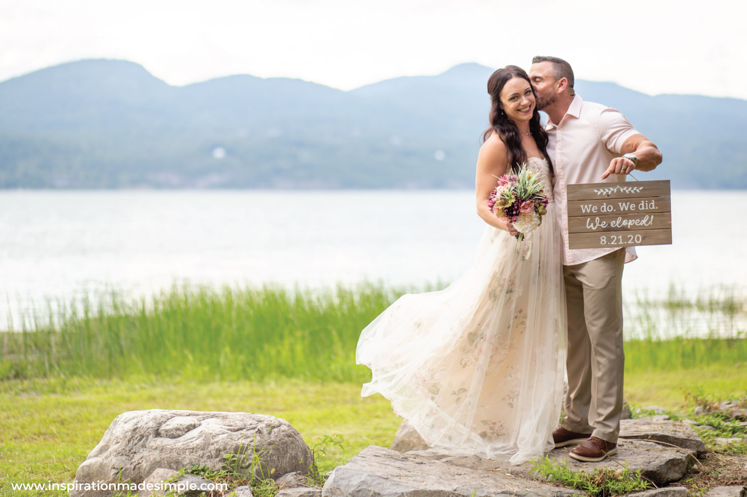 We eloped with a small lake side wedding!