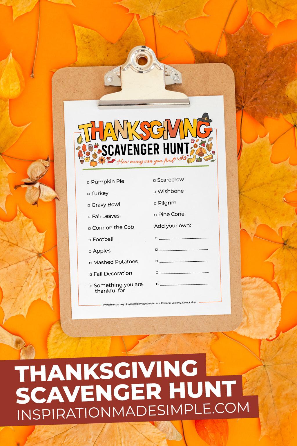 Printable Thanksgiving Scavenger Hunt