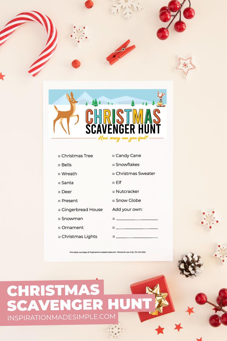 Printable Christmas Scavenger Hunt for Kids