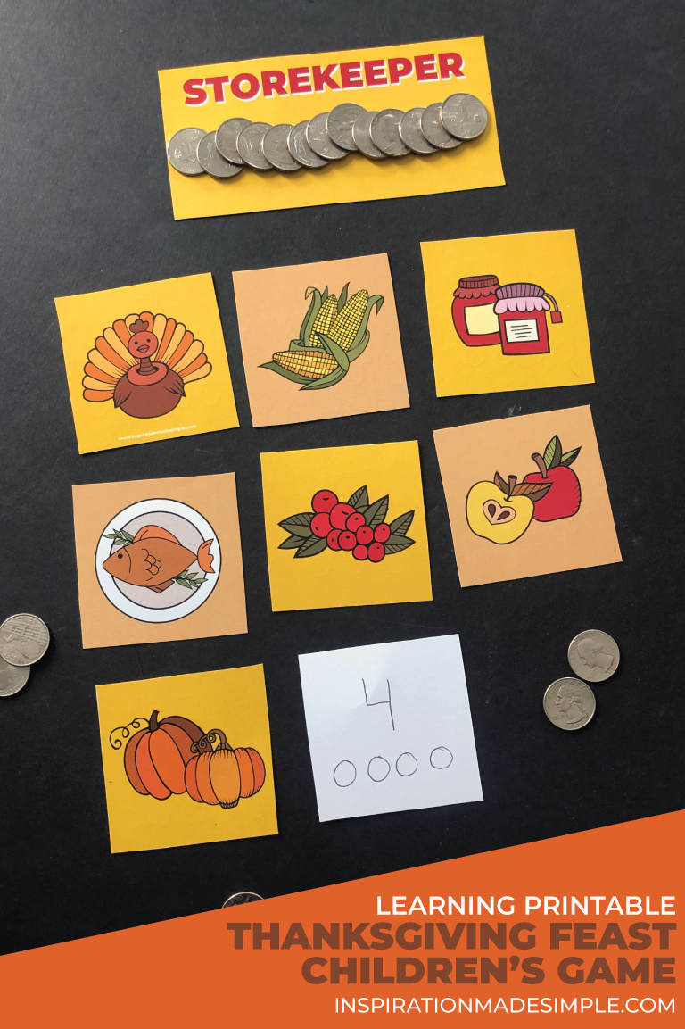 Thanksgiving Feast Children's Game - practice number recognition and counting with this fun early learning printable game.