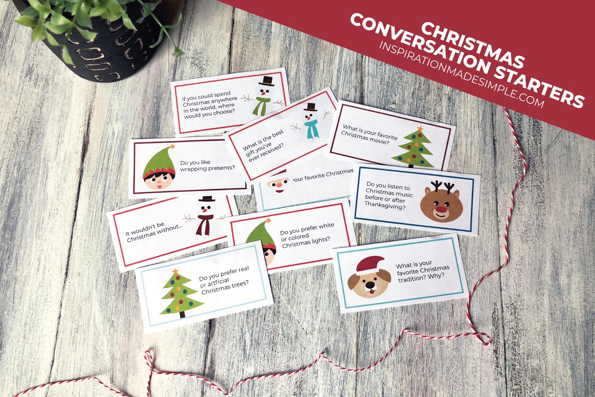 Printable Christmas Themed Conversation Starters