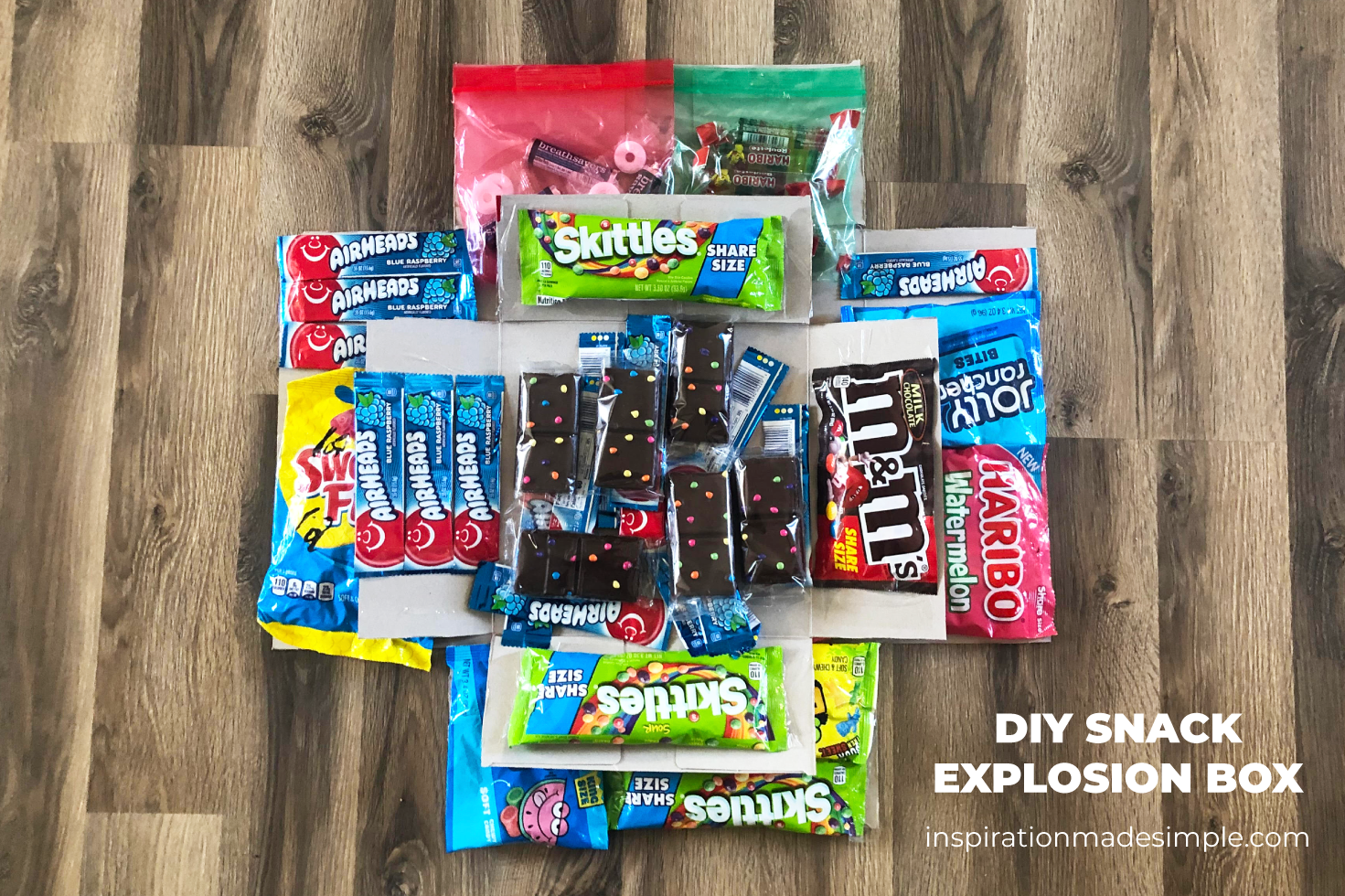 DIY Snack Explosion Box - a fun gift for teens and college students