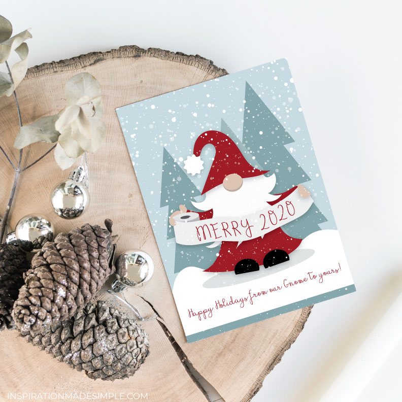 Printable Holiday Card with a Gnome holding Toilet Paper