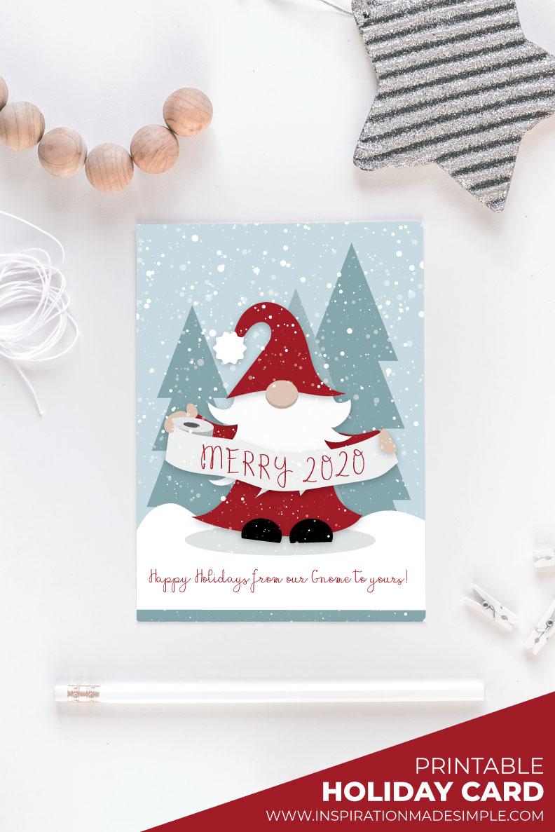 Printable Gnome Christmas Card
