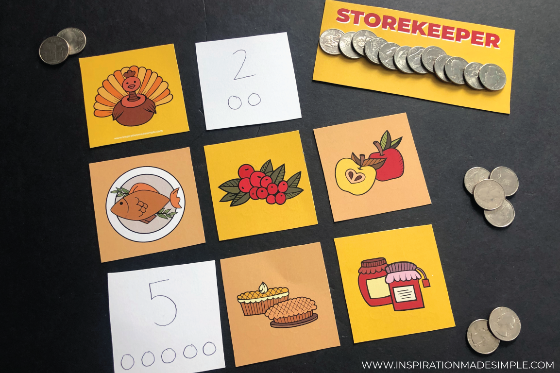 A fun printable Thanksgiving Learning Game for preschoolers