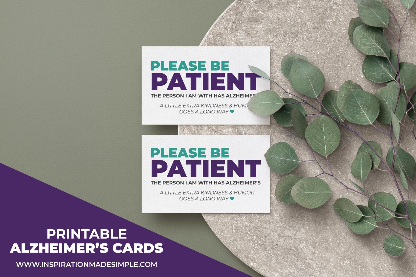 Printable Caregiver Cards for Alzheimer's
