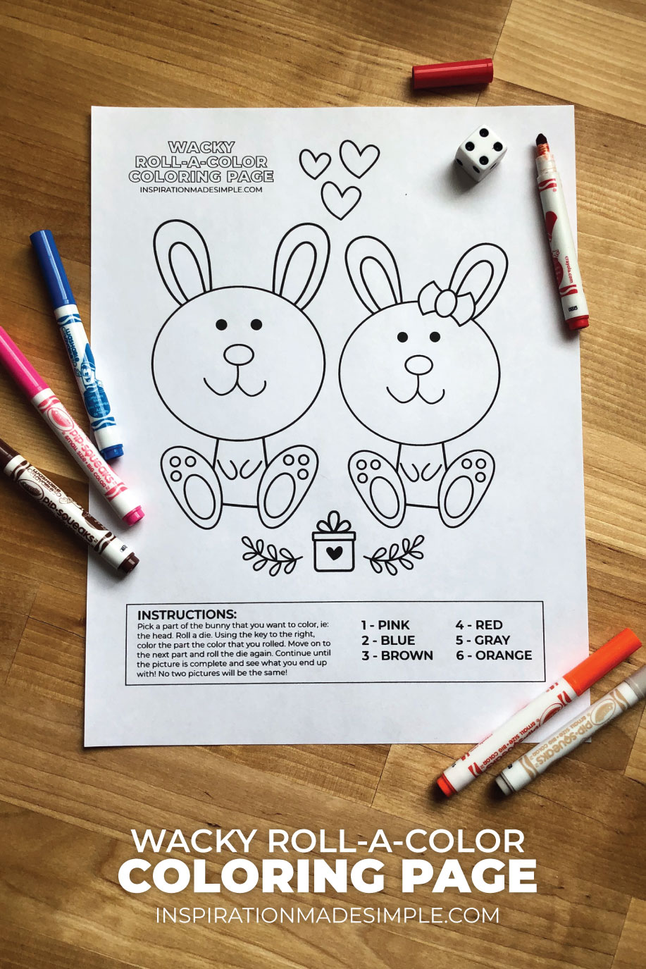 Printable Wacky Roll-a-Color Bunny Coloring Page
