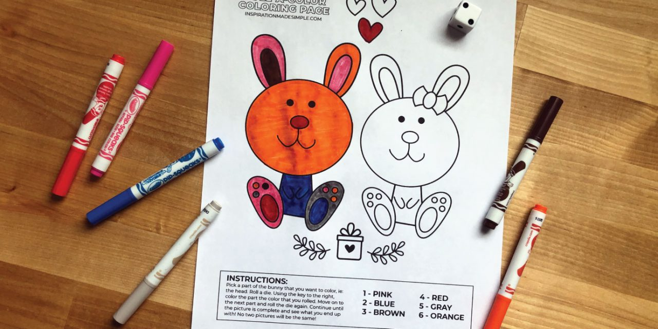 Wacky Roll-a-Color Bunny Coloring Page