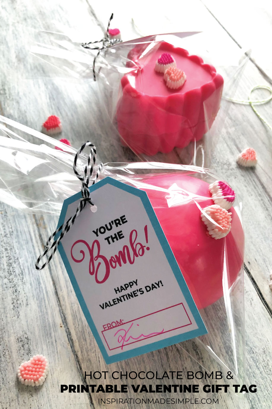 Hot Chocolate Bomb Valentine Idea and Printable Tag