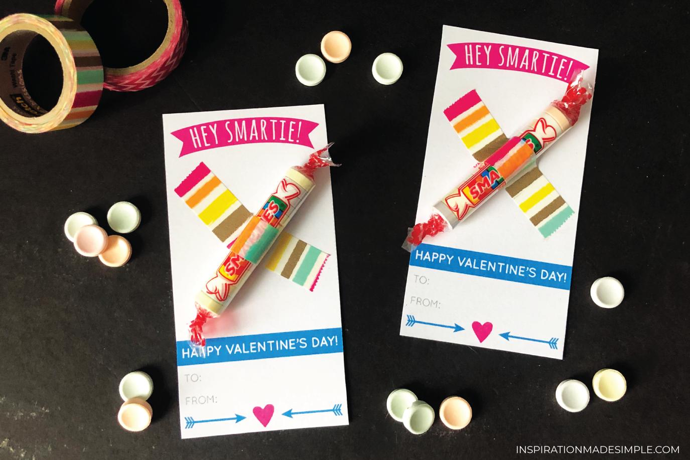 "Printable ""Hey, Smartie"" Classroom Valentines"