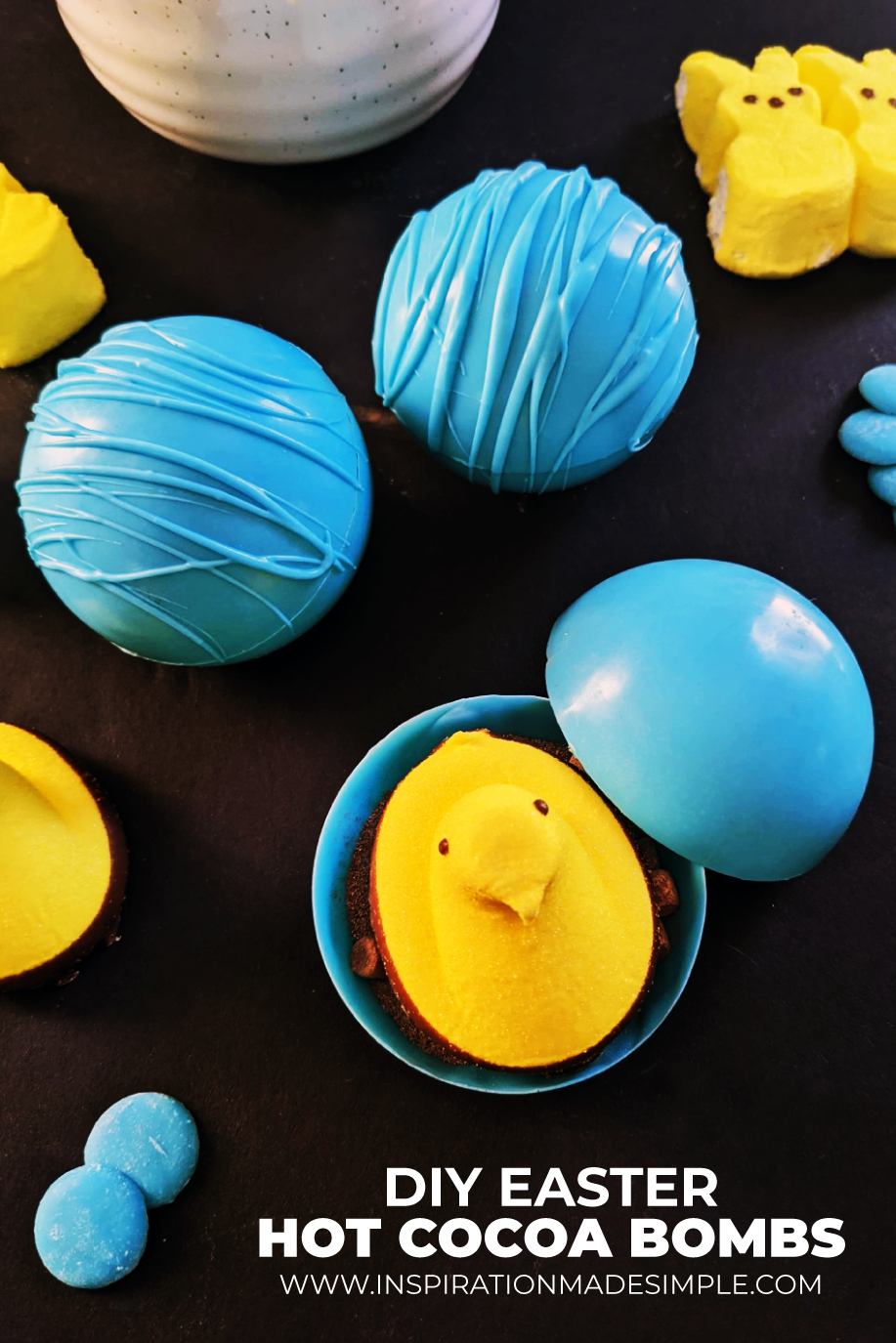 DIY Easter Hot Cocoa Bombs with Peeps Inside