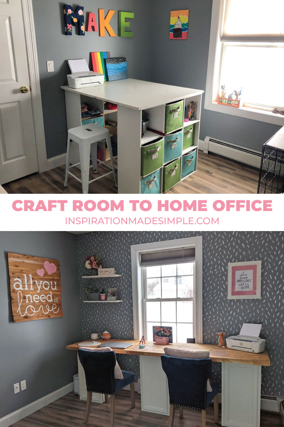 Craft Room to Home Office Makeover
