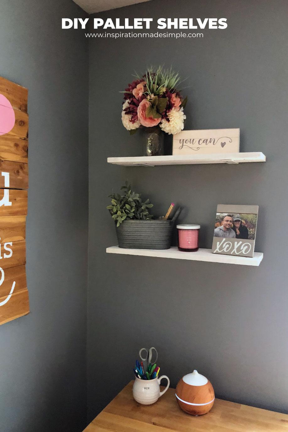 DIY Floating Pallet Shelves for under $16 for two!