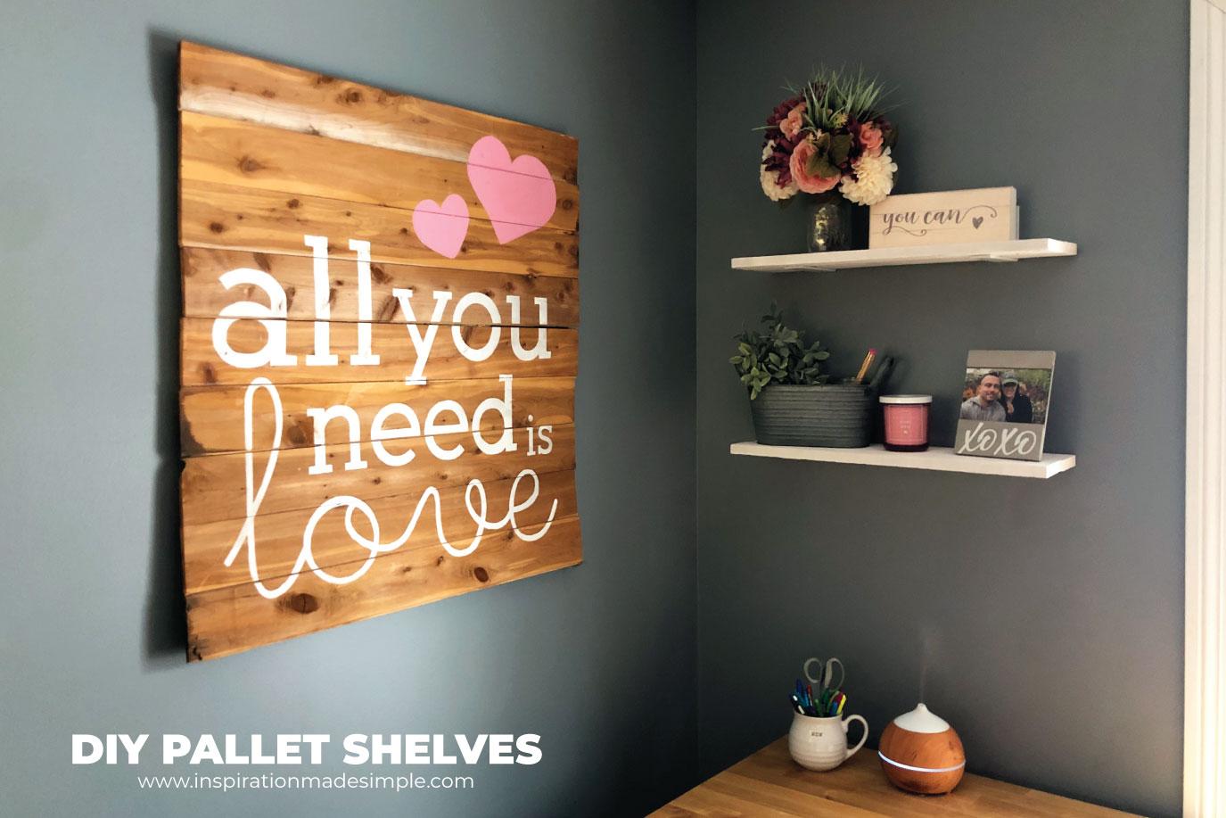 DIY Floating Pallet Shelves