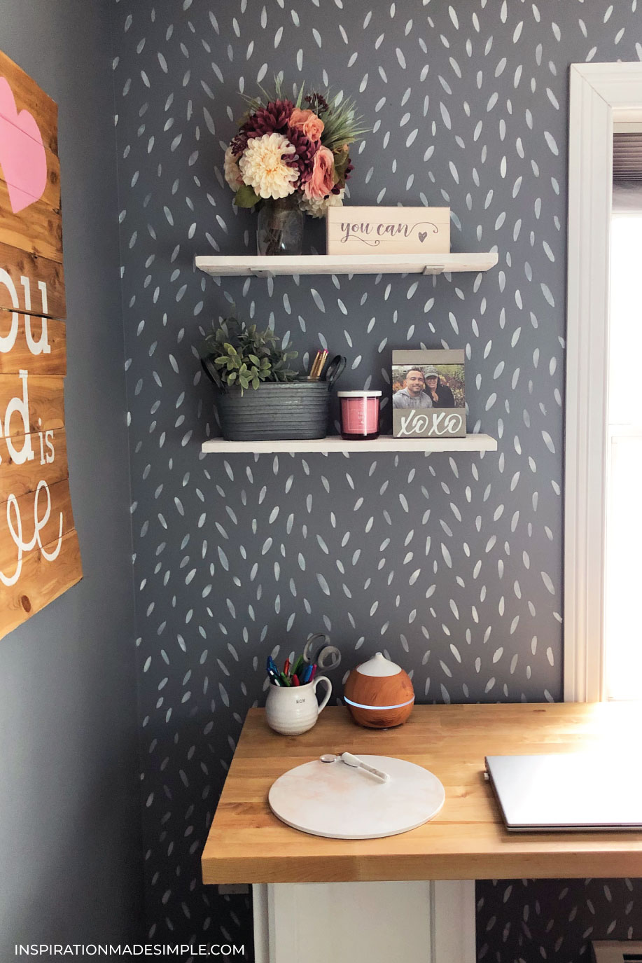 DIY Floating Office Shelves