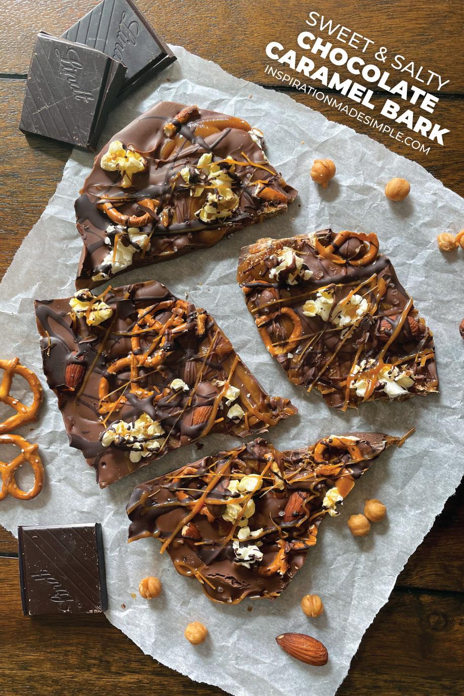 Making homemade chocolate caramel bark