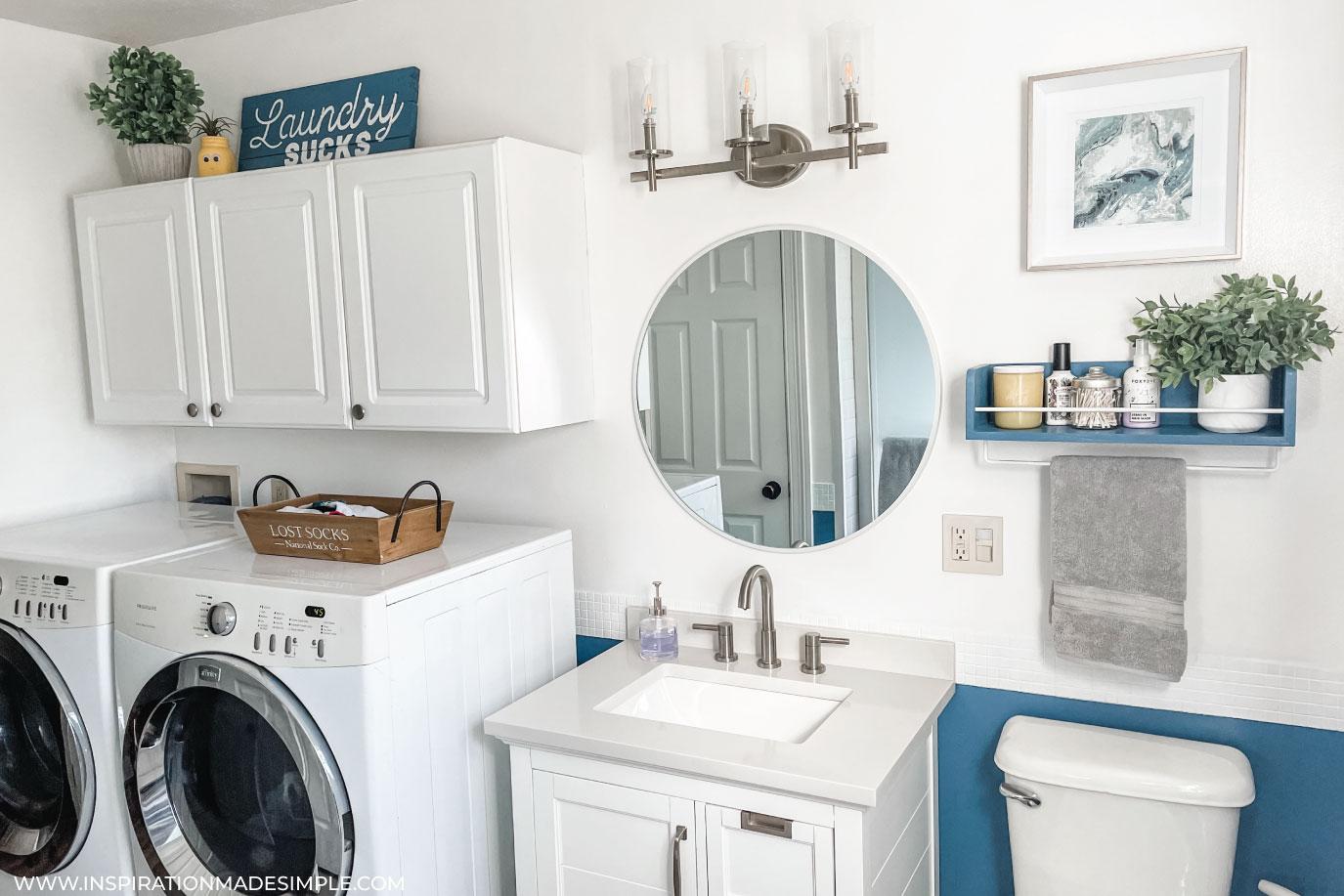 Blue and White Farmhouse Style Bathroom