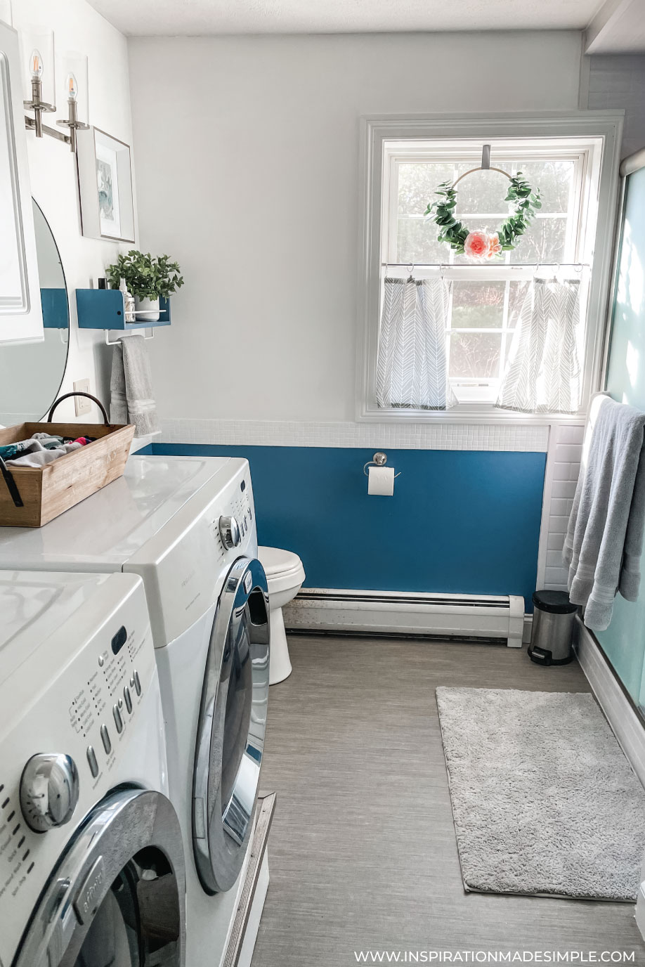 Updated blue and white bathroom