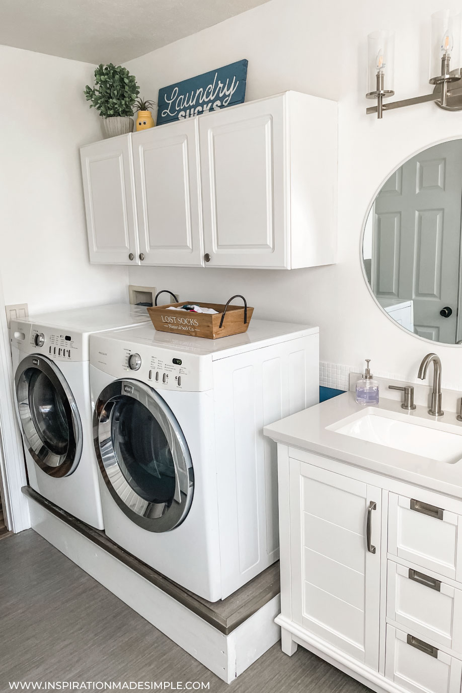 Light and airy bathroom/laundry room