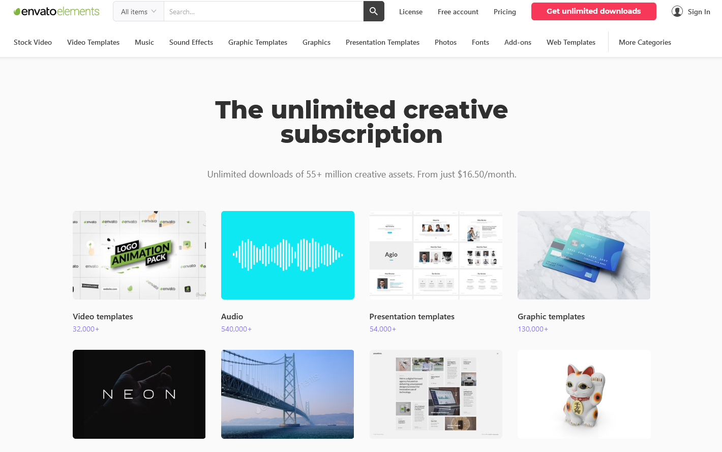 Envato Elements - Unlimited downloads of 55+ million creative assets. From just $16.50/month.