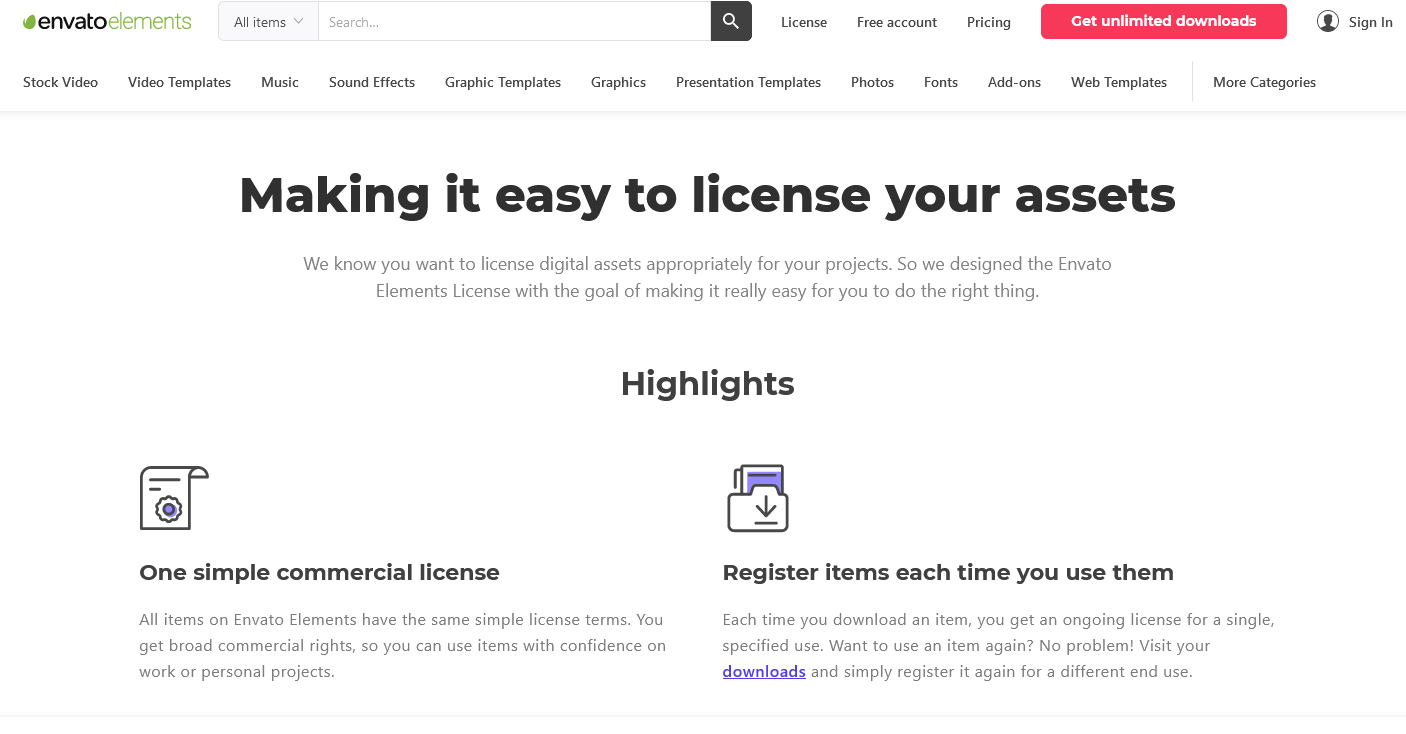 Envato Elements makes it easy to license your assets