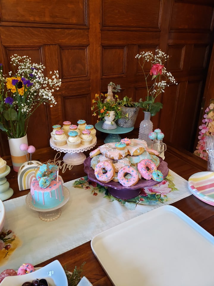Donut Themed Baby Shower Cake and Desserts