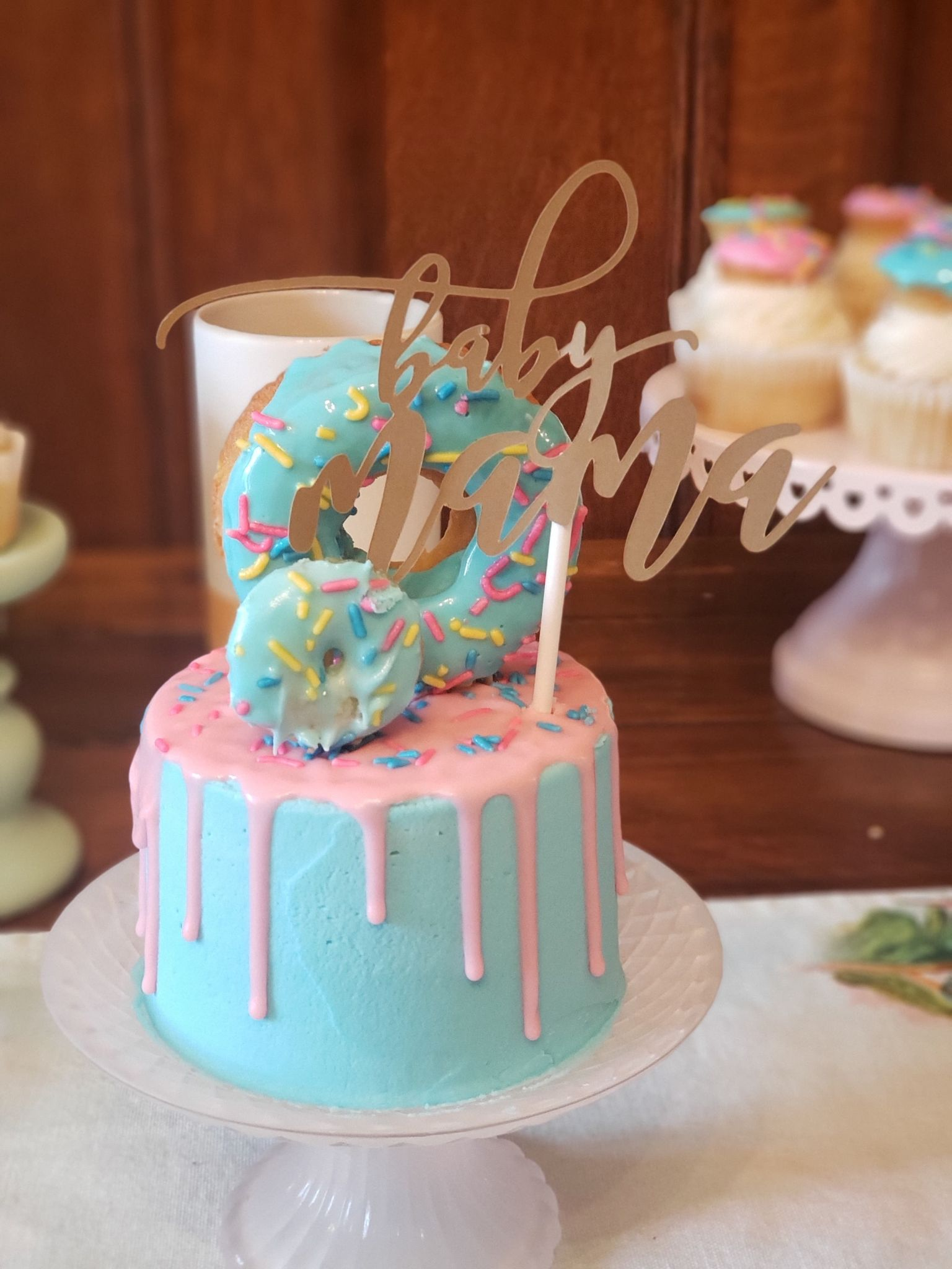 Donut Cake with DIY Baby Shower Topper